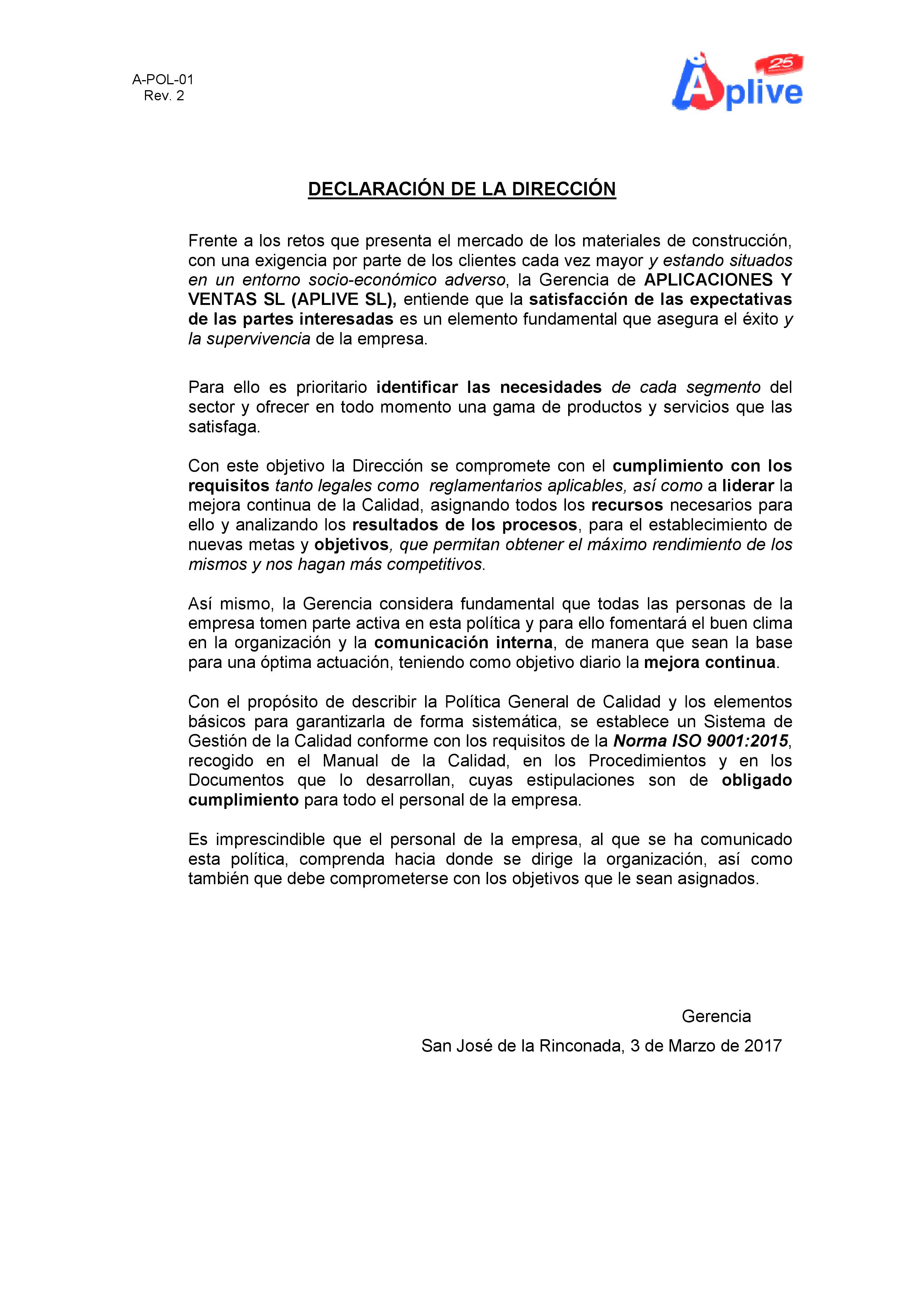 1.-POLITICA DE CALIDAD APLIVE